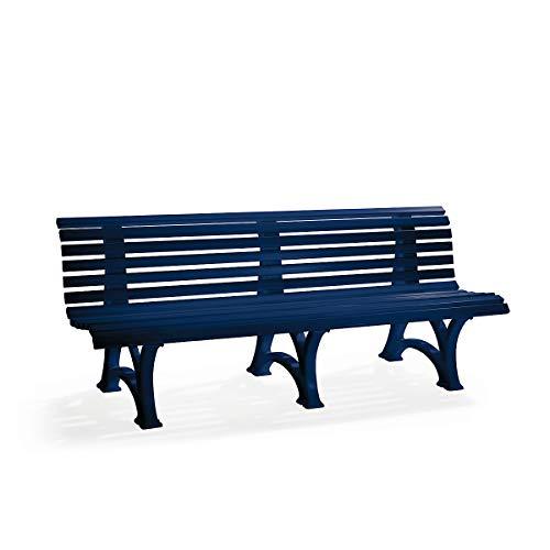 Parkbank aus Kunststoff - mit 13 Leisten - Breite 2000 mm, stahlblau - Bank Gartenbank Kunststoff-Bank Kunststoff-Bänke Ruhebank