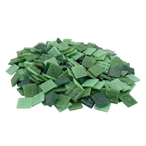 Mosaik-Profis Mosaiksteine versch. Farben (2x2 cm, 900g, ca. 340 St.) - buntes Mosaik ideal zum Basteln - Glasmosaik - keine Kunststoffverpackung (Grün Mix2)
