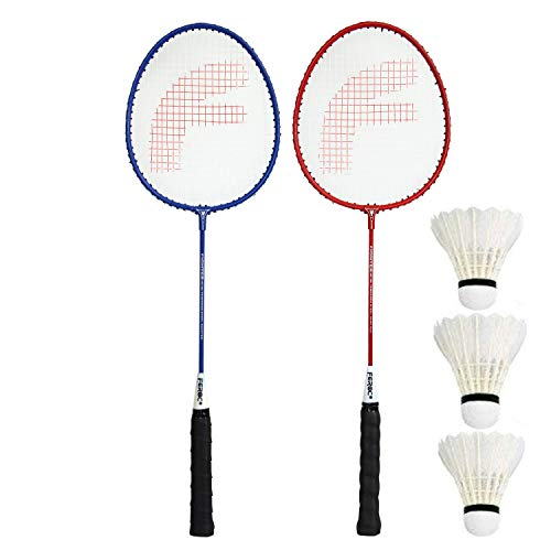 FEROC Fighter Aluminum Badminton Racket Set of 2 with- 3 Pieces Feather SHUTTLES