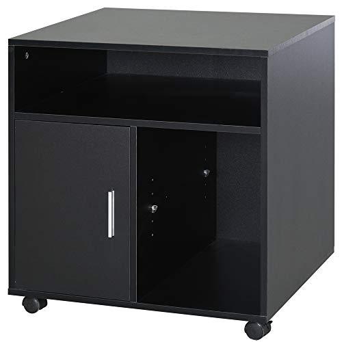 HOMCOM Multi-Storage Printer Stand Unit Office Desk Side Mobile Storage w/Wheels Modern Style 60L x 50W x 65.5H cm - Black