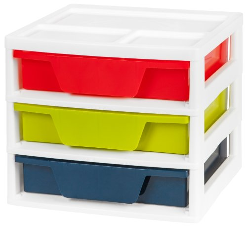 IRIS USA, Inc. PJD-303 3-Drawer Activity Chest with Organizer Top, Assorted Colors