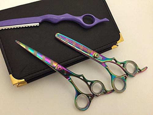 "6""Professional Barber Razor Edge Paper Coated Hair Cutting and Texturizing Shears Scissors with Straight Razor Student Teacher Kit Set+case Black"