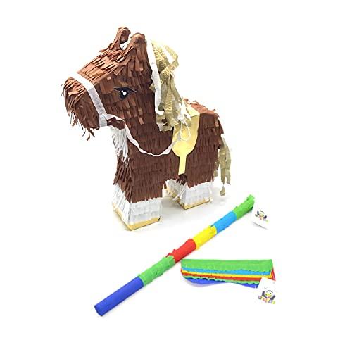 Nislai® Piñata Caballo Set | Ideal para la Fiesta de caballo o animales | Regalo piñata | piñata de cumpleaños | Fiestas Infantiles | Incl. Palo y Antifaz | tamaño Aprox. 44x33x10 cm