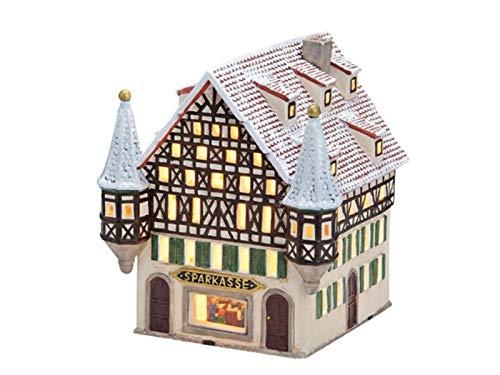 meindekoartikel Sparkasse Fachwerkhaus aus Porzellan – Windlicht Lichthaus Miniatur-Modell – B16 x T17 x H17CM
