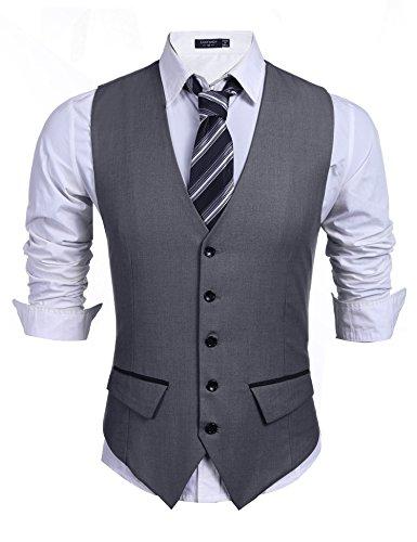 Burlady Herren Anzugweste Herren wesern Weste Slim fit ärmellose v-Ausschnitt Freizeit Business Hochzeit Herrenweste(Dunkelgrau,S)