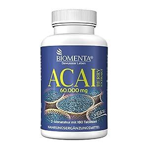 BIOMENTA Acai Berry 60,000 mg - extracto puro de acai de Brasil - 180 tabletas veganas de acai