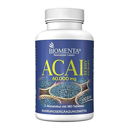 BIOMENTA ACAI BERRY 60.000 mg | AKTION!!! | 180 Acai Tabletten | 2 Monatskur | VEGAN