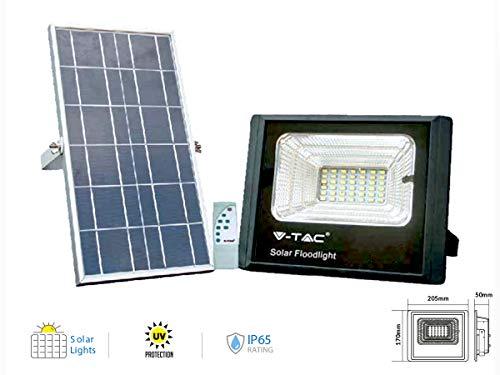 V-TAC Faro LED 25W con Pannello Solare e Telecomando 6000K 25 W, Bianco