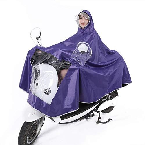 LXDDP Poncho Impermeable para Adultos Chaqueta Impermeable para Lluvia al Aire Libre, Tela Oxford Coche eléctrico Motocicleta Aumento Doble Sombrero Grueso Aleros Que montan Poncho Universal