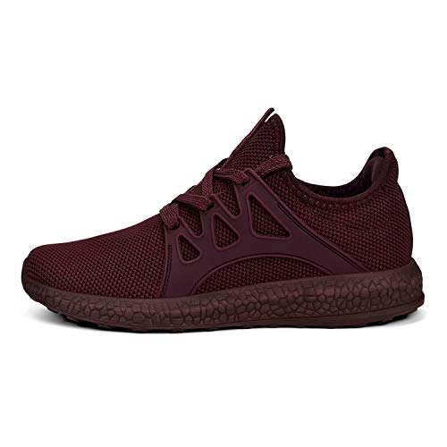 MARSVOVO Womens Non Slip Sneakers Lightweight Breathable Mesh Sport Athletic Walking Tennis Shoes Agate Red Size 7.5