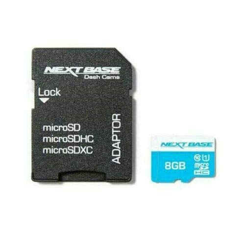 NEXTBASE 8GB SD microSD HC Class 10 Card with Adaptor - Compatible with Nextbase In-Car Dash Cams Series 1 and 2