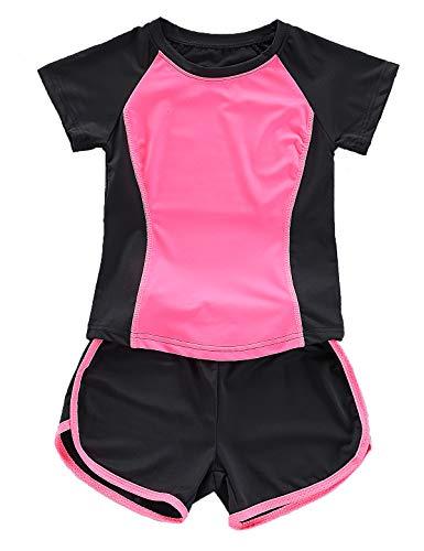 Echinodon Mädchen Sport-Set 2tlg Schnelltrockend T-Shirt + Shorts Trainingsanzug für Jogging Yoga Sommer Rosa 140