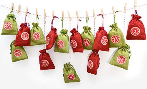 DuneDesign Calendario de Adviento para Rellenar - 24 Bolsas de Regalo - Decoración de Navidad DIY