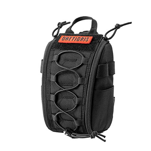 OneTigris Empty IFAK Pouch 8' x 5' MOLLE Trauma Bag with Carry Handle and D-Ring for Camping Hunting Hiking Wilderness Car Home Office Sports (Black - Upgraded Version)