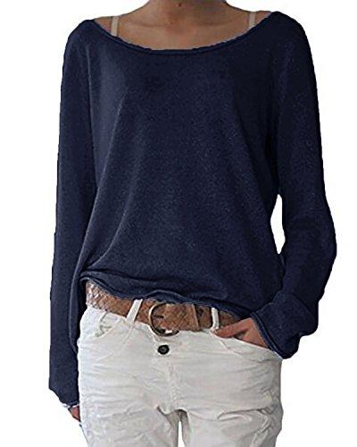 ZANZEA Damen Langarm Lose Bluse Hemd Shirt Oversize Sweatshirt Oberteil Tops Dunkelblau EU 40-42/Etikettgröße M