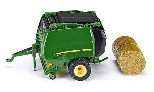 SIKU 2465, John Deere Rundballenpresse 990, 1:32, Metall/Kunststoff, grün, Öffenbare Seiten- und Heckklappe