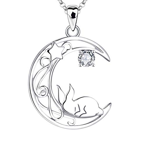 JO WISDOM Women Hare Necklace,925 Sterling Silver Moon Rabbit Pendant Necklace with AAA Cubic Zirconia