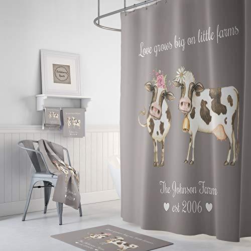 Alicert5II Duschvorhang Personalisierte Bauernhaus Kühe Liebe wächst groß auf kleinen Farmen Optional