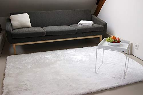 Exklusiver Hochflor Shaggy Teppich Satin weiß 80x150 cm - edler, seidig glänzender Teppich