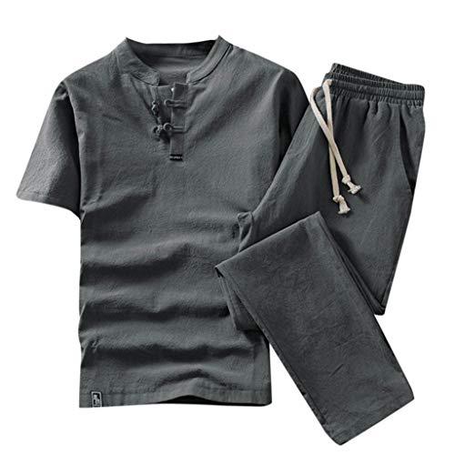 T-Shirt en Lin à Manches Courtes Slim Fit Pantalons Homme Couleur Unie Occasionnel Running Jogging Fitness Ensemble 2 Pièces Suit Survêtement