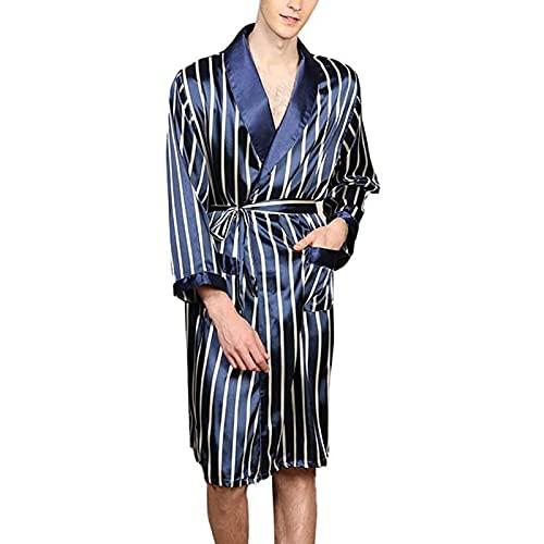 LZJDS Camisón de verano de rayas delgadas pijamas para el hogar ropa de dormir de manga larga Albornoz azul, XL
