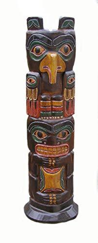 Cornwall Art Prints Tiki Totem Pole, Hecha a Mano de Madera Tallada, 50cm de Altura del Comercio Justo