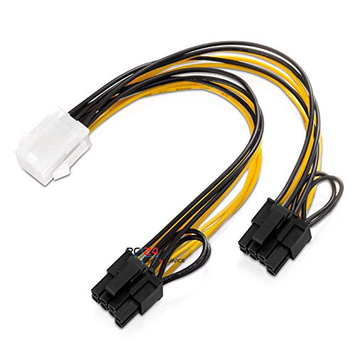 PC24 Shop & Service Y-Kabel 1x 6pin PCIe Anschluss (Buchse) auf 2X 6+2pin PCIe Anschluss (Stecker)