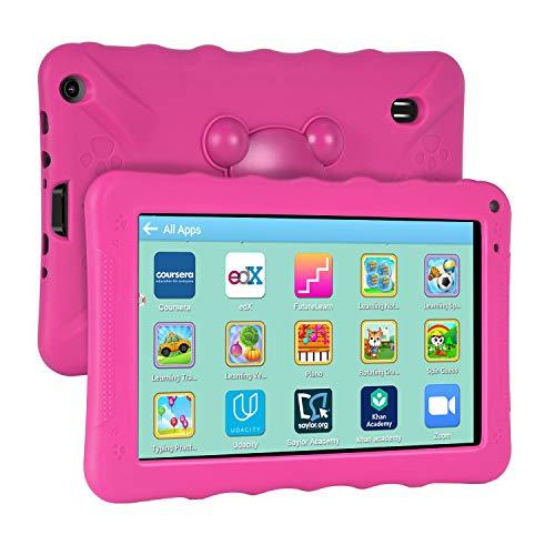 Xgody Kids Edition Tablet, 9-Zoll-HD, Kindersicherung, Für die Internet Cloud Klasse, Android 6.0, 16 GB, Quad Core, Pinke kindgerechte Hülle