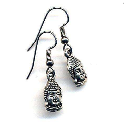 Small Buddha Earrings, Surgical Steel Earrings, Silver Earrings, Stainless Steel Buddhist Earrings, Yoga Jewelry by annaart72
