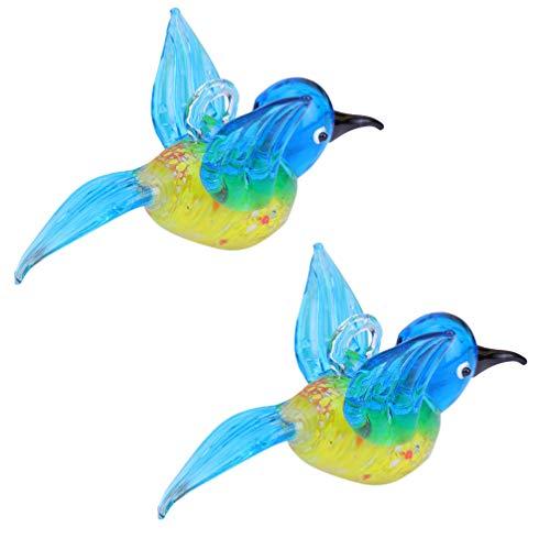 Cabilock Figura de colibrí de 2 pájaros de cristal, azul, colibrí, escultura en miniatura, para balcón, valla, jardín, ventana, decoración, festival, cumpleaños, Navidad, regalo