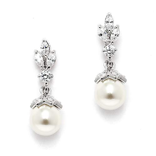 Mariell Light Ivory Pearl Drop Vintage Wedding Earrings with Platinum Plated Cubic Zirconia Marquis