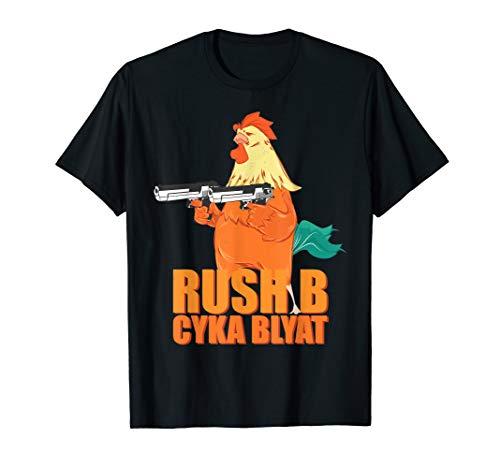 Gamer Rush B Cyka Blyat T-Shirt mit Hahn Zocker Geschenkidee