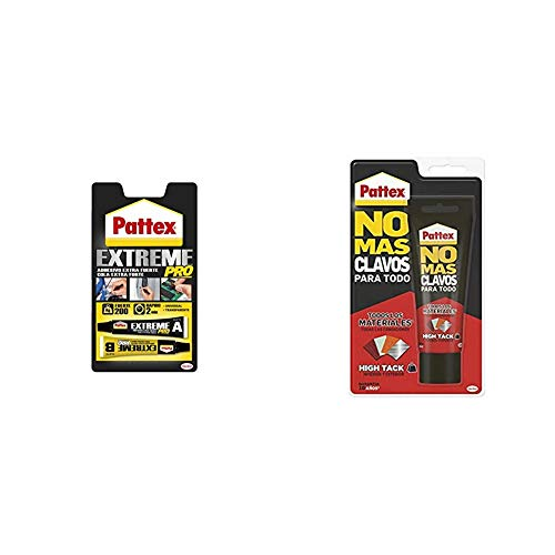 Pattex Extreme Pro, adhesivo universal transparente, fuerza y resistencia, 22ml + No Mas Clavos Para Todo HighTack Adhesivo de montaje resistente a temperaturas extremas