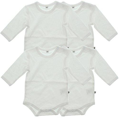 Pippi 4er Pack Baby Unisex Body, Langarm, Alter 9-12 Monate, Größe: 80, Farbe: Weiß, 3819