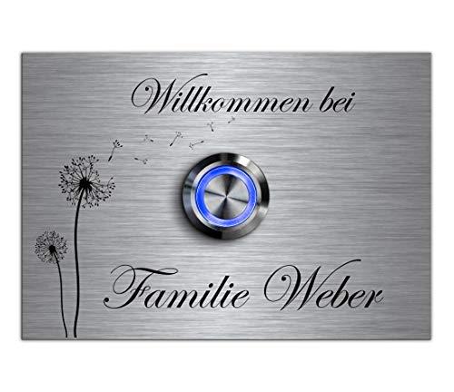 CHRISCK design - Edelstahl Türklingel mit Gravur - LED Beleuchtung und über 100 Motive 10x7 cm Klingel-Taster Klingelschild Klingelplatte Namen Modell: Weber