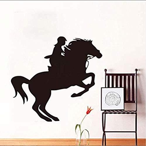 Muurstickers Art Decal Vinyl Murals Vrouwelijke Ruiter Paard Woonkamer Waterdichte Art Grafisch Paard 62 * 58cm