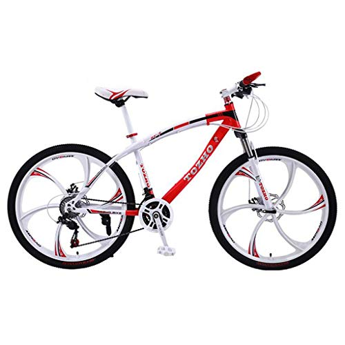 Mountain Bike,Carbon Steel Frame Hardtail Mountain Bicycles,26inch Mag Wheel,Dual Disc Brake and Front Suspension (Color : Red, Size : 21 Speed)