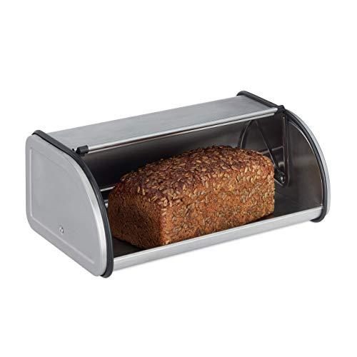 Relaxdays 10023832, argenté Boîte inox, conserver pain viennoiserie gâteaux, caisse couvercle coulissant