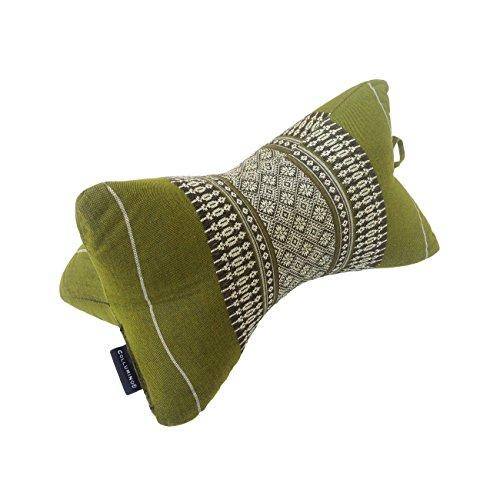 Collumino Almohada tradicional tailandesa Kapok cuello apoyo almohada para yoga masaje o relajación, verde