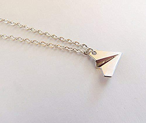 Collana, collana Larry Stylinson, aeroplano, aereo di carta Paper Planes collana, argento aereo di carta, regali per lei, regalo di compleanno