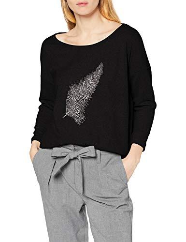 ONLY NOS Damen onlELCOS Stud 4/5 TOP JRS Langarmshirt, Schwarz (Black Detail:Feather), 38 (Herstellergröße: M)