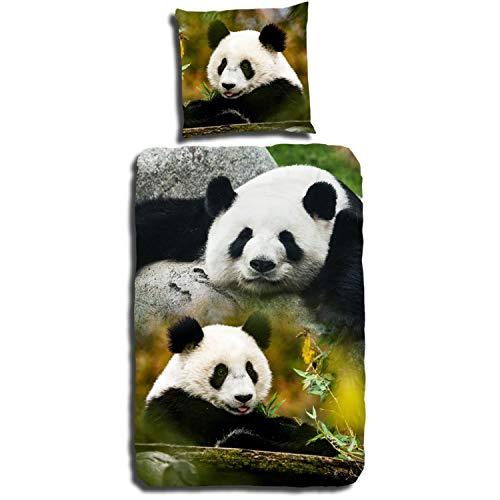 Good Morning Bettwäsche 2458 Sammy Bunt Pandabär Wildnis Panda Bär Tier Pflanzenfresser Jungle Bunt Größe: 135 cm x 200 cm