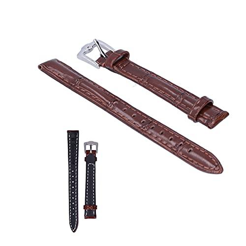 Qini Correa de Reloj con Hebilla de Pasador, Correa de Reloj con Cabeza de aleación Duradera para relojeros para Trabajadores de reparación de Relojes(24mm Brown)