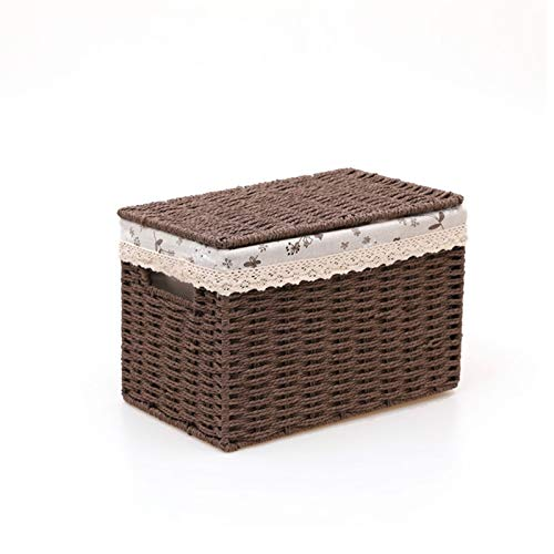 gaowei Cesta de Almacenamiento de Tejido a Mano, con Tapa Organizador Almacenamiento Caja Tejida Cesta para Dormitorio Sala de Estar (Color : Coffee, tamaño : Large)