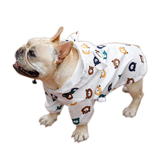Dreamls Haustier-Regenmantel, Hunde-Regenmantel mit Kapuze, französische Bulldogge, Regenjacke, wasserdicht, für Welpen, kleine Hunde, mittelgroße Hunde (S)