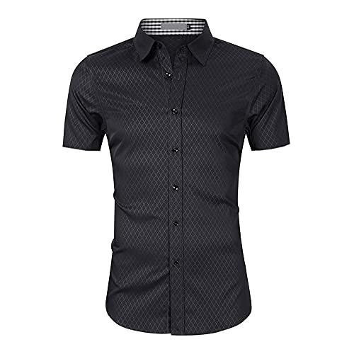 LSSM Camisas De Manga Corta para Hombres Camisas Formales para Hombres De Negocios Tropical Hawaiano Lino Blusa Manga Camisas Top Sin Cuello De Color SóLido Blusas Suelta Negro L