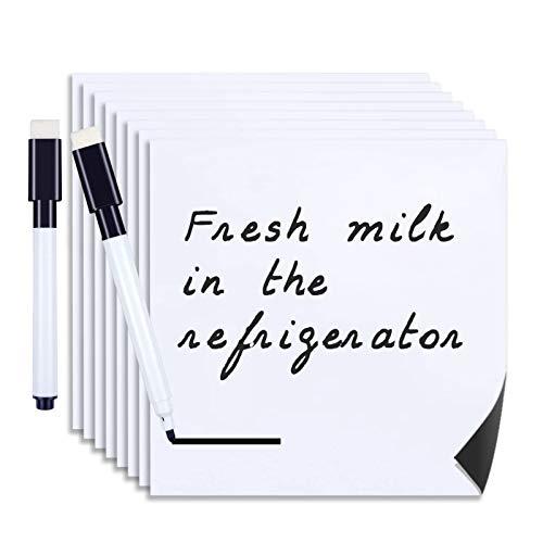 Meetory 6 Stück Mini Magnetisches Whiteboard Folie Croppable Wiederverwendbar mit 2 abwischbar Stift, Ferrofolie in weiß, beschreibbar nass abwischbar (15 x 15 cm)