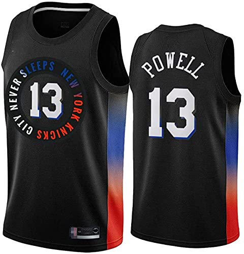 XUECHEN Ropa Jerseys de Baloncesto de los Hombres, New York Knicks # 13 Powell NBA Baloncesto Uniformes sin Mangas Camisetas sin Mangas y Chalecos Transpirables Holgados, Negro, M (170~175 cm)