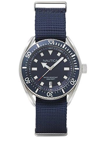Nautica Watch NAPPRF001 Portofino Analog, Water Resistant, Date Function, Nylon Strap, Buckle Closure, Blue