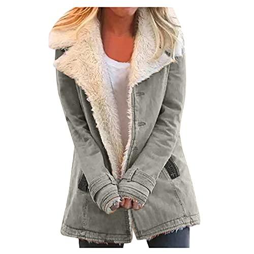 Abrigo largo con capucha para mujer, para otoo, negro, invierno, forro polar, abrigo de felpa, abrigo de forro polar, abrigo de invierno, abrigo de otoo, chaqueta de invierno con capucha, V4 Gris, S